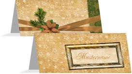 Tischkarte Goldenes Geschenk - Blau (K32)