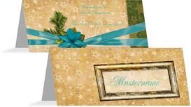 Tischkarte Goldenes Geschenk - Lila (K32)