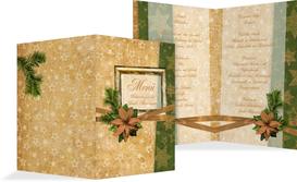 Weihnachtsmenükarte Goldenes Geschenk - Braun (K38)
