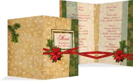 Weihnachtsmenükarte Goldenes Geschenk - Rot (K38)