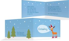 Weihnachtseinladung Rentier - Hellblau (K19)