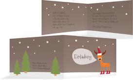 Weihnachtseinladung Rentier - Lila (K19)