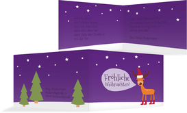 Weihnachtsgrußkarte Rentier - Lila (K19)