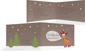 Weihnachtsgrußkarte Rentier - Grün (K19)