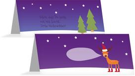 Weihnachtstischkarte Rentier - Lila (K32)
