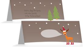 Weihnachtstischkarte Rentier - Braun (K32)