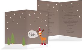 Weihnachtsmenükarte Rentier - Braun (K38)