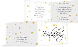 Weihnachtseinladung Sterne - Gelb (K19)