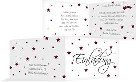 Weihnachtseinladung Sterne - Rot (K19)