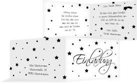 Weihnachtseinladung Sterne - Schwarz (K19)