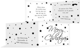 Weihnachtsgrußkarte Sterne - Schwarz (K19)