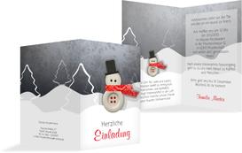 Weihnachtseinladung Knopfmännchen - Rot (K20)