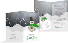 Weihnachtseinladung Knopfmännchen - Grün (K20)