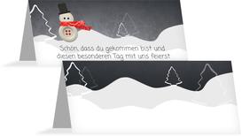 Weihnachtstischkarte Knopfmännchen - Rot (K32)