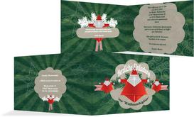 Weihnachtseinladung Origami - Grün (K19)