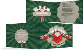 Weihnachtsgrußkarte Origami  - Grün (K19)