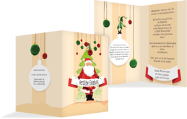 Weihnachtseinladung Wichtel - Orange (K20)