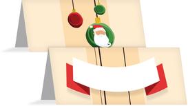 Weihnachtstischkarte Wichtel - Orange (K32)