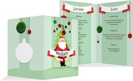 Weihnachtsmenükarte Wichtel - Grün (K38)