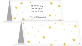Weihnachtstischkarte Sterne - Gelb (K32)