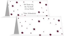 Weihnachtstischkarte Sterne - Rot (K32)