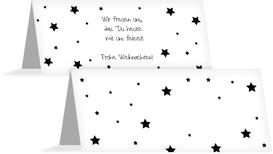 Weihnachtstischkarte Sterne - Schwarz (K32)
