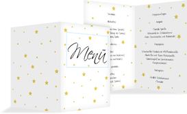 Weihnachtsmenükarte Sterne - Gelb (K38)