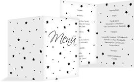 Weihnachtsmenükarte Sterne - Schwarz (K38)