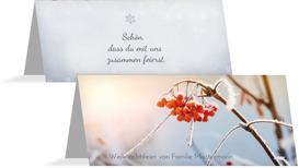 Weihnachtstischkarte Reif - Hellblau (K32)
