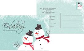 Weihnachtseinladung Schneemänner - Türkis (K25)