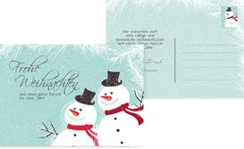 Weihnachtsgrußkarte Schneemänner - Türkis (K25)