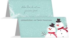 Weihnachtstischkarte Schneemänner - Türkis (K32)