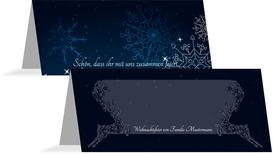 Weihnachtstischkarte Schnörkelhirsch - Dunkelblau (K32)