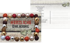 Weihnachtseinladung Kugelrahmen - Rot (K25)
