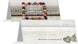 Weihnachtstischkarte Kugelrahmen - Rot (K32)