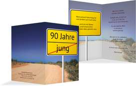 Einladung zum Geburtstag Straßenschild 90 - Rot (K20)
