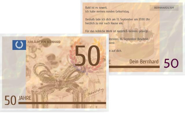 einladungskarte zum geburtstag geldschein 50, Einladung