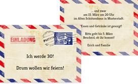 Einladungskarte Geburtstag Luftpost - Champagne (K25)
