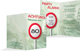 Geburtstagseinladungskarte Begrenzungsschild 80 - Grün (K20)