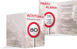 Geburtstagseinladungskarte Begrenzungsschild 80 - Braun (K20)