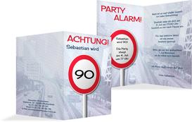Geburtstagseinladungskarte Begrenzungsschild 90 - Dunkelblau (K20)