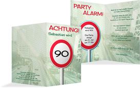 Geburtstagseinladungskarte Begrenzungsschild 90 - Grün (K20)