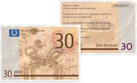 Einladungskarte zum Geburtstag Geldschein 30 - Braun (K25)