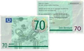 Einladungskarte zum Geburtstag Geldschein 70 - Grün (K25)
