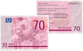 Einladungskarte zum Geburtstag Geldschein 70 - Pink (K25)