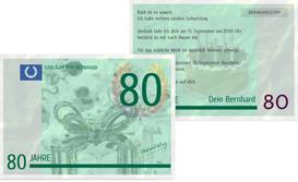 Einladungskarte zum Geburtstag Geldschein 80 - Grün (K25)