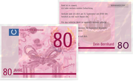 Einladungskarte zum Geburtstag Geldschein 80 - Pink (K25)