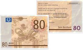 Einladungskarte zum Geburtstag Geldschein 80 - Braun (K25)