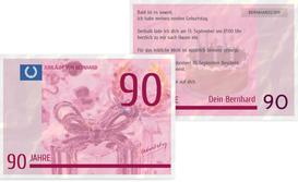 Einladungskarte zum Geburtstag Geldschein 90 - Pink (K25)