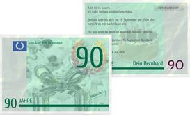 Einladungskarte zum Geburtstag Geldschein 90 - Grün (K25)